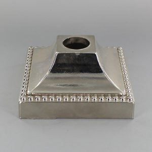 NICKEL PLATED LARGE SQUARE BEEDED CAST BRASS CANOPY W/ 1-1/16 HOLE. 4-15/16W X 2-1/2H